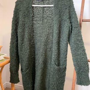 Green, fluffy cardigan
